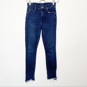 Mother The Stunner Ankle Step Fray Jean Dark Wash